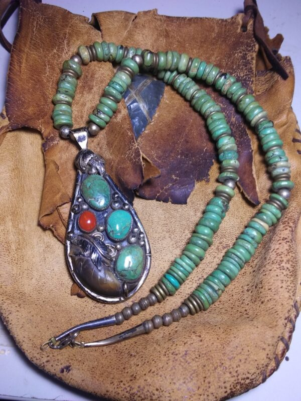 Native American Bear Claw Turquois Coral Neck Silver 1958